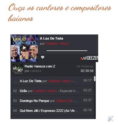 Ouça os cantores e compositores baianos no Blog Vaneza com Z