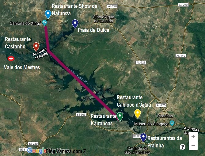 mapa passeios canion xingo